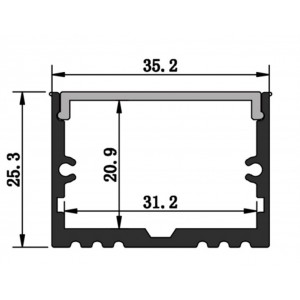 Profil din aluminiu pentru banda LED LMC-3525-2 35*25mm 2m/PC