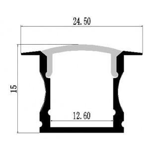Profil din aluminiu pentru banda LED LMC-A55 24.50x15.00mm 2m/PC