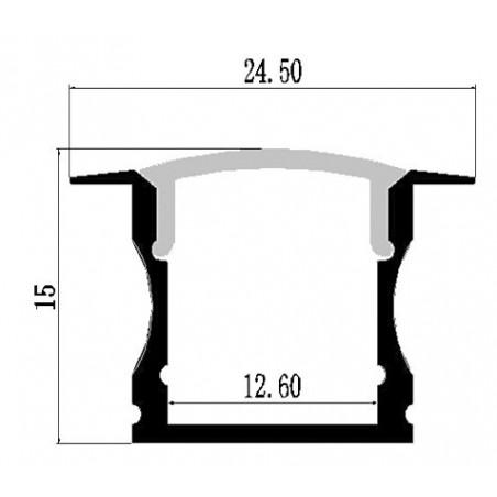 Alluminium profile Profil LMC-A55 24.50x15.00mm 2m/PC