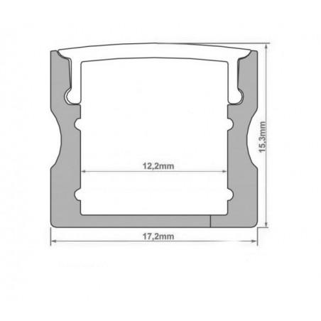 Profil din aluminiu pentru banda LED L038 15.35x17mm 2m/set